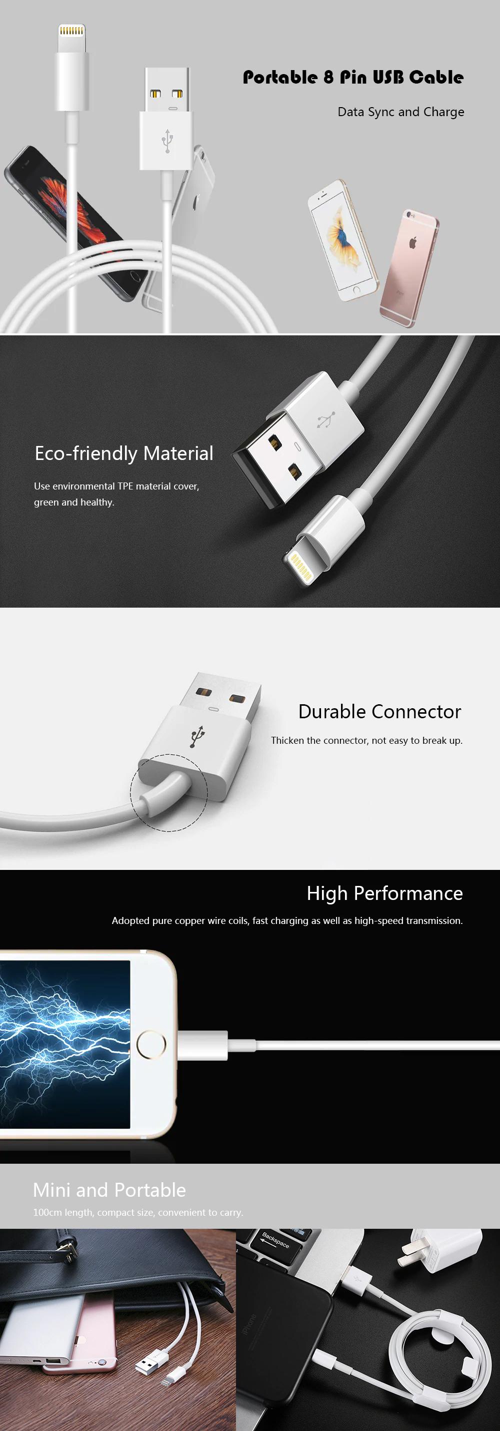 Cable de 2A 8 pin de carga y datos USB para iPhone / iPad / iPod - 100 cm