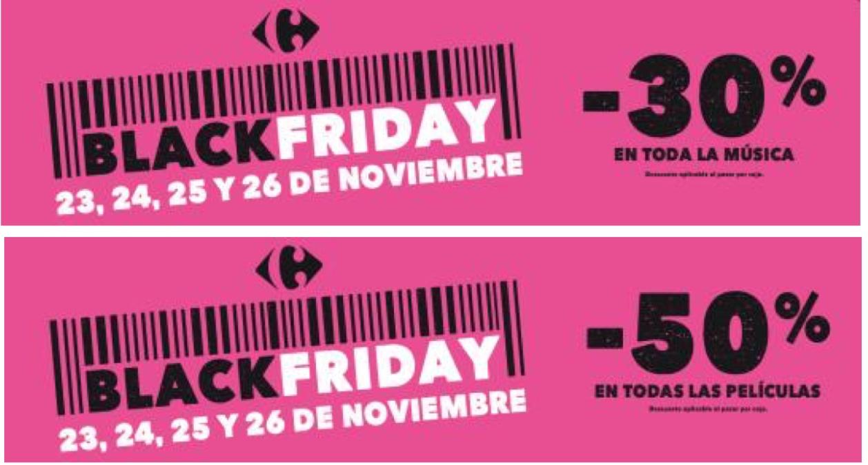 Carrefour - Black Friday 2017 -50% en todas las películas y -30% en toda la música.
