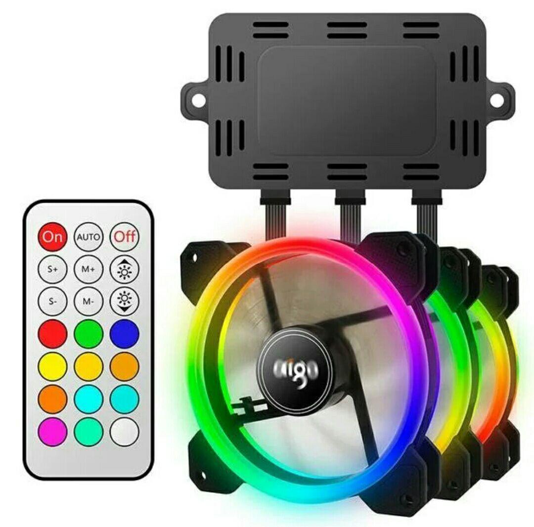Kit 3 ventiladores full led + control remoto