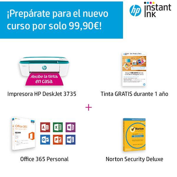 Impresora HP + 1 año de Office 365 + 1 año de Norton