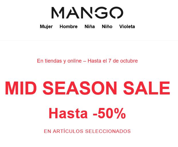 Hasta 50% de descuento en MANGO