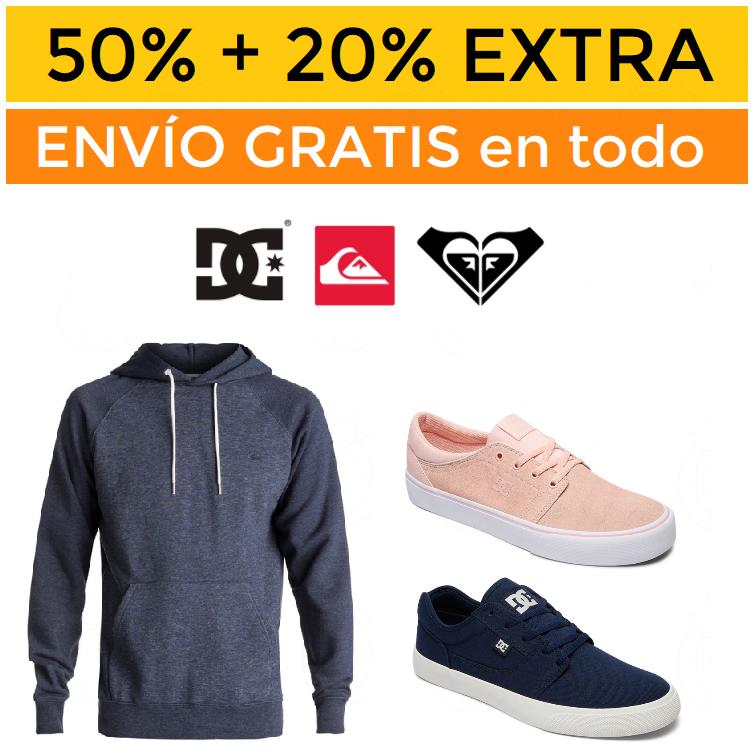 50% + 20% EXTRA Quiksilver, Roxy y DC + envío gratis