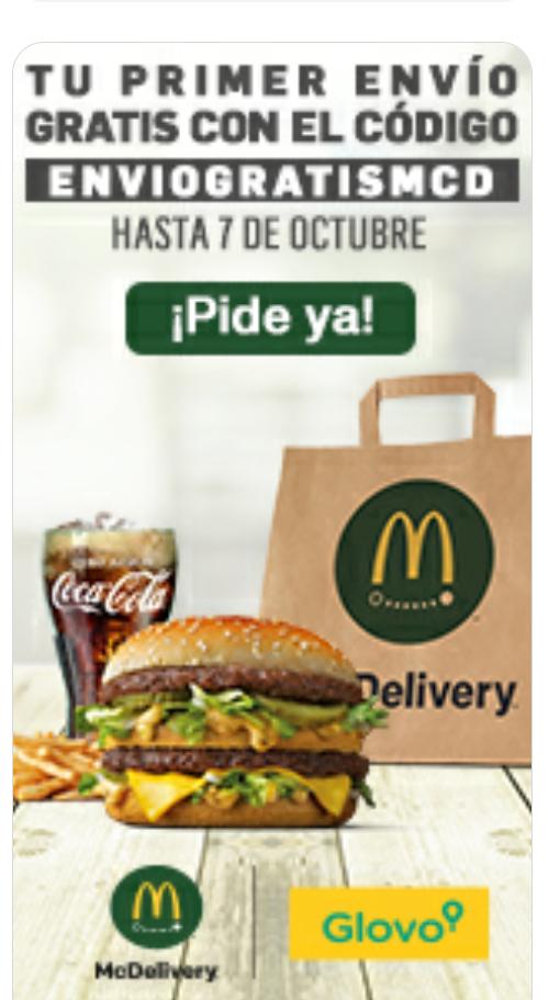 Envío gratis McDonalds con Glovo