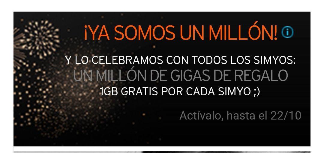 PARA TODOS LOS CLIENTES DE SIMYO 1GB GRATIS!!