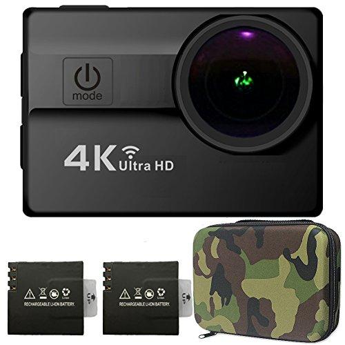 Cámara Deportiva 4K Wifi Sensor Sony16MP HD 2.0 Pulgadas LCD con Dos Baterías