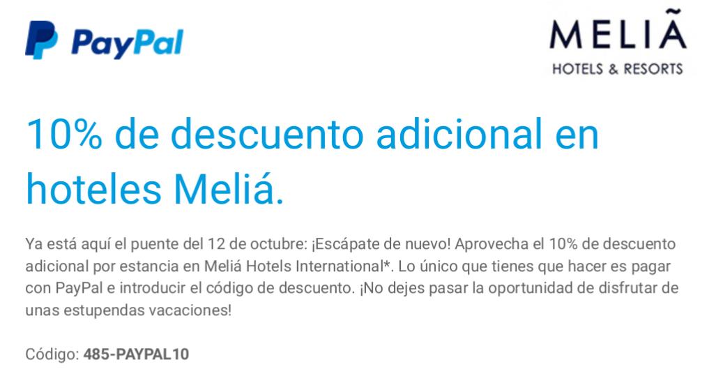 10% descuento en Hoteles Melia