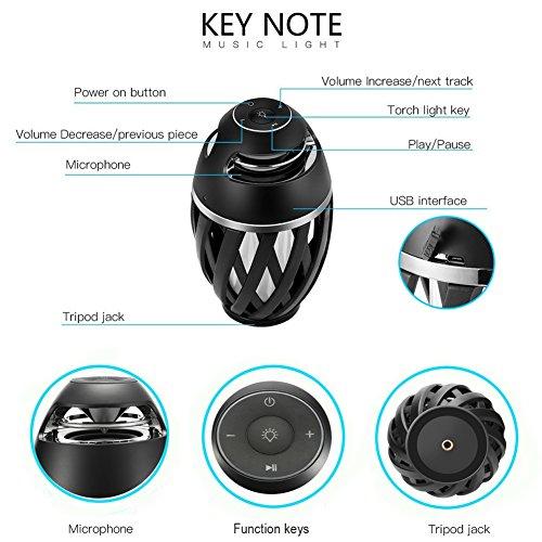 Portable LED Flickering Flame Light Lamp Bluetooth Speaker