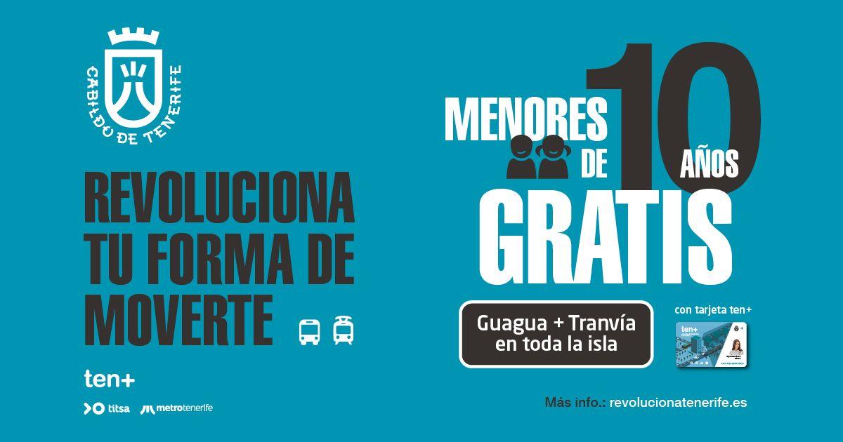 Tranvía+Guaguas GRATIS por TODA TENERIFE para menores de 10 años