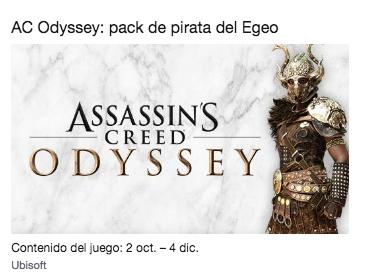 (Twitch Prime) Botín Assassin's Creed Odyssey : pack de pirata del Egeo