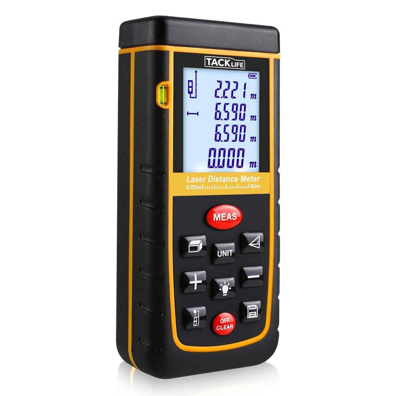 Tacklife 60m mini Medidor Láser, Metro Láser, Telémetro Láser, Distanciómetro Láser, Nivel Láser IP54, manejable, digital, con pantalla LCD retroiluminada y Medición de Disntancia Área y Volumen