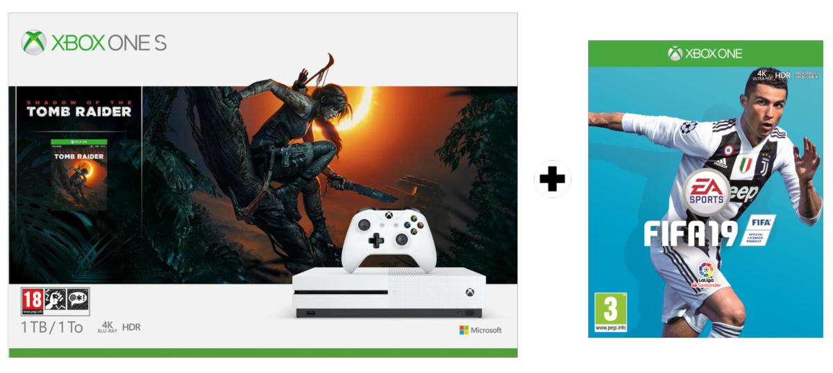 Xbox One S, 1 TB, Blanca + Shadow of the Tomb Raider + FIFA 19