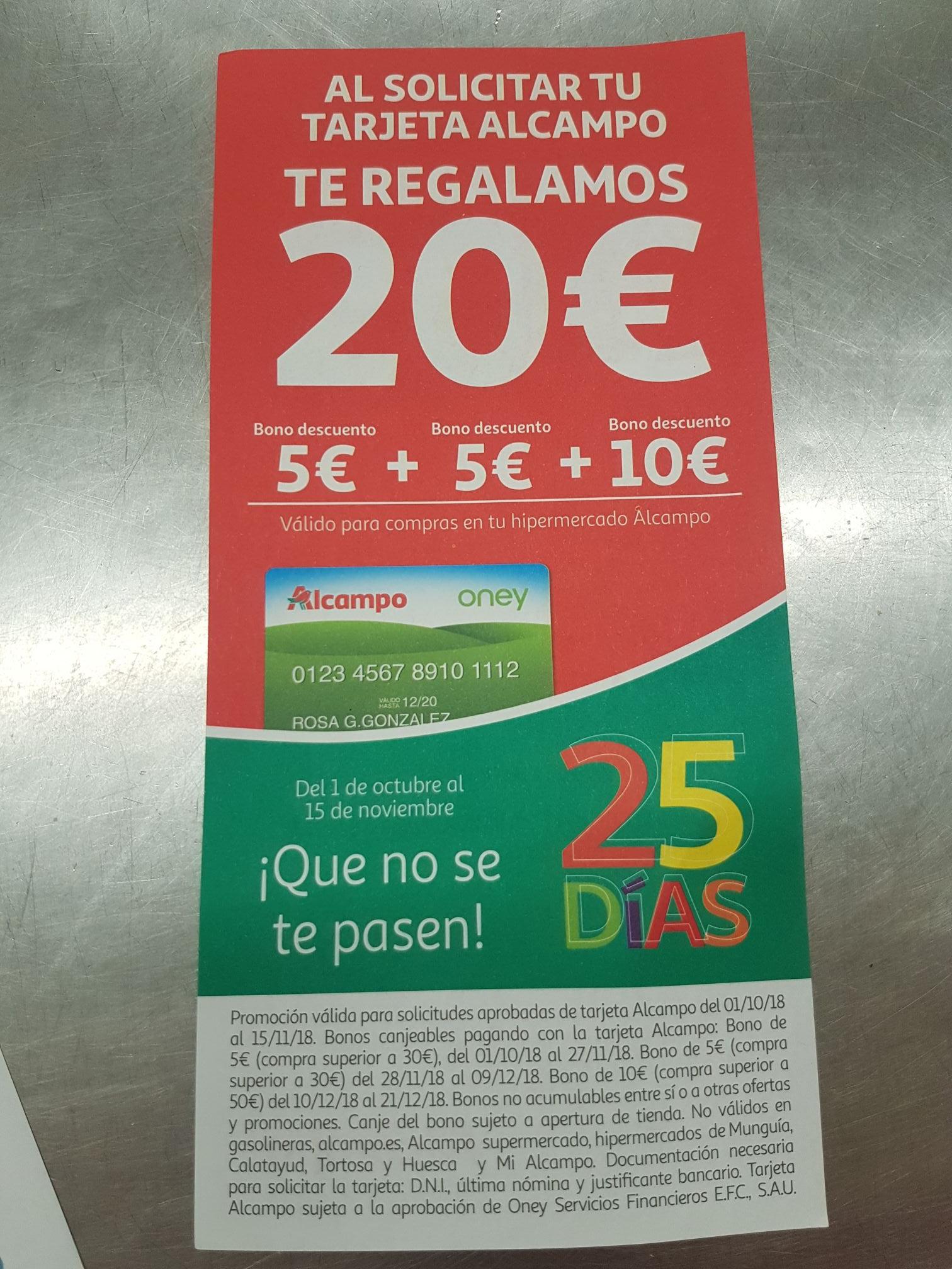 20€ regalo alcampo al solicitar la tarjeta