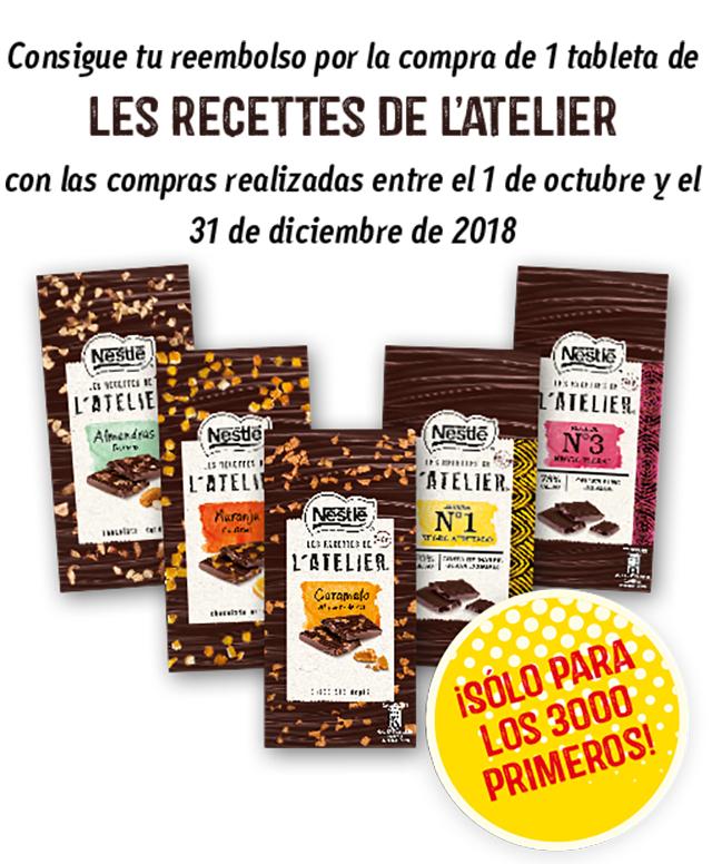 GRATIS chocolate Atelier de Nestlé  [REEMBOLSO]