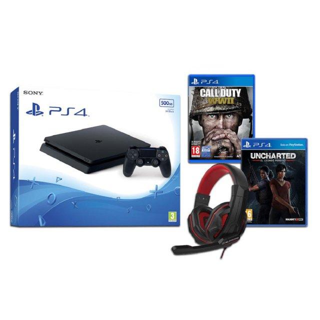 PS4 Slim 500GB + Call of Duty WWII + Uncharted: El Legado Perdido + Headset Blackfire BFX15 para PS4