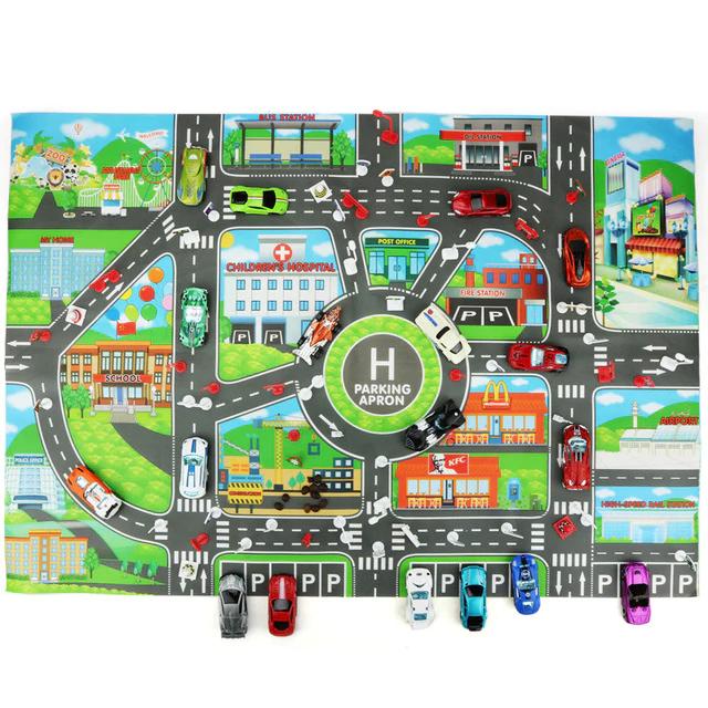 Alfombra para niños con diseño de ciudad + 10 coches