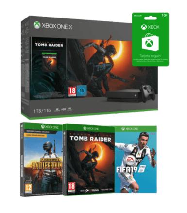 Xbox One X, 1 TB + Tomb Raider + PUBG + FIFA 19 + Tarjeta Xbox Live 10€
