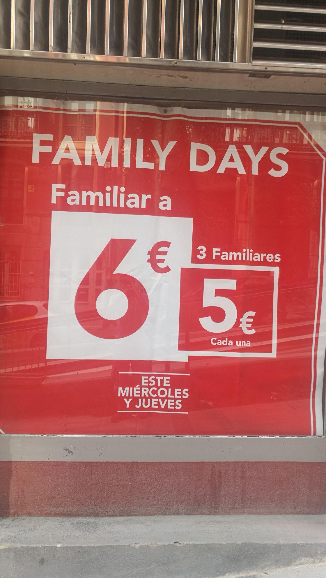 Tres familiares 15€ en family days de Telepizza