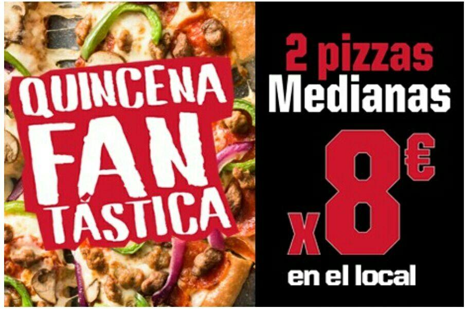 Pizza Hut Pontevedra: 2 medianas a recoger por 8€