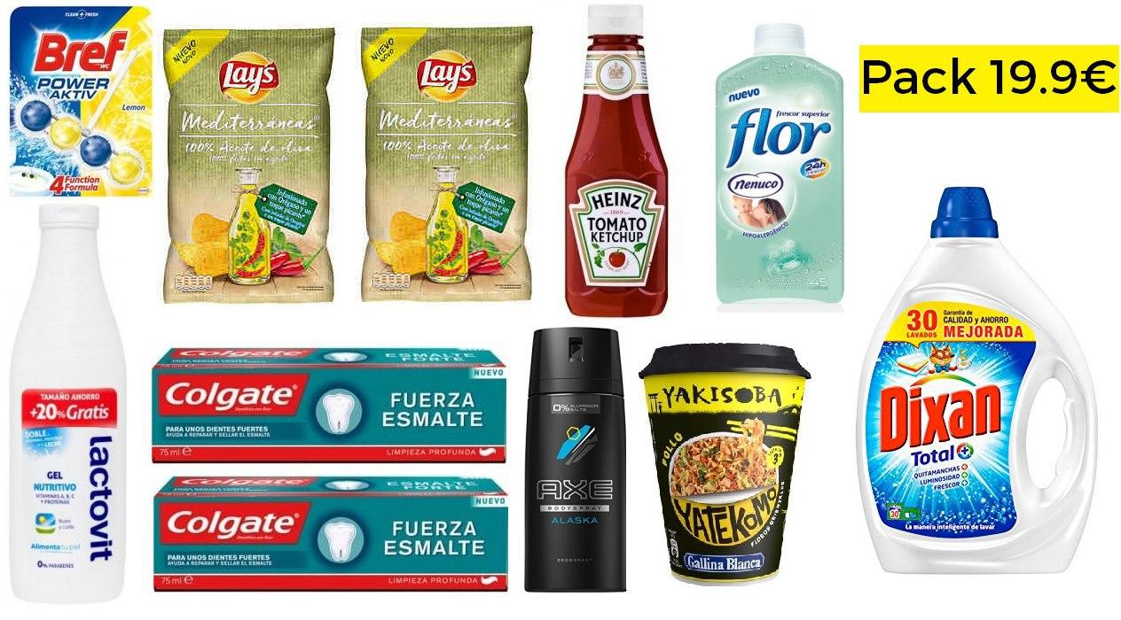 Pack productos comida, higiene y limpieza solo 19.9€