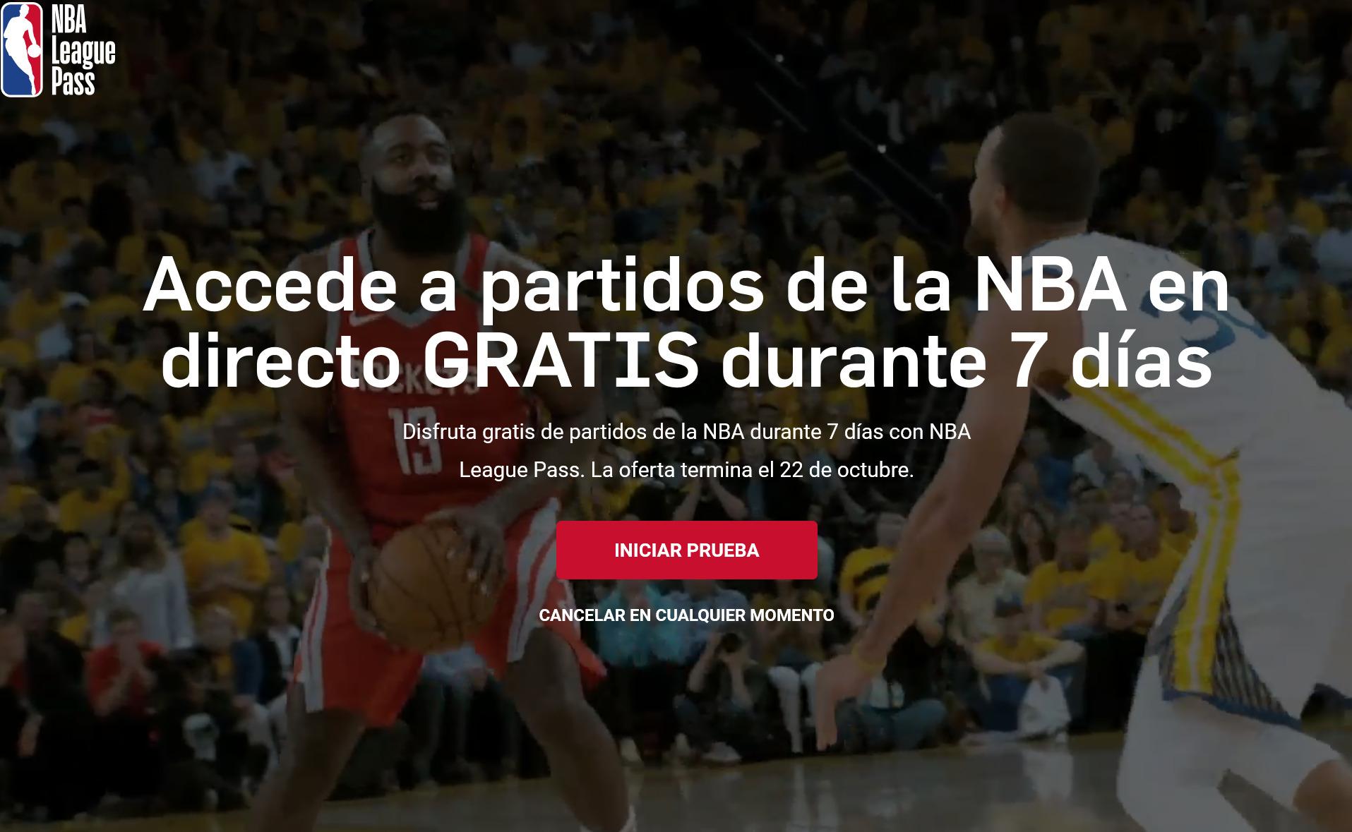 NBA: Acceso gratis a partidos de la NBA en directo durante 7 días.