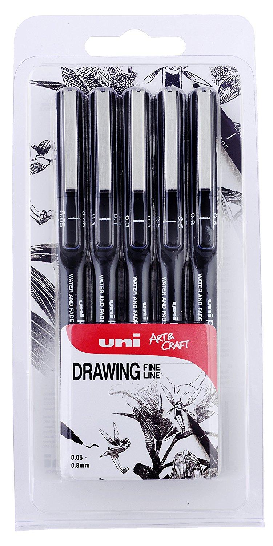 Uni-Ball 153486623 - Pack de 5 bolígrafo de dibujo, color negro