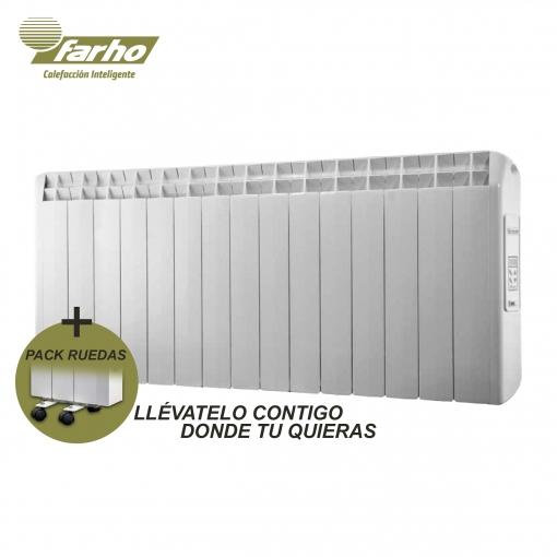 Faho Pack - Radiador Electrico + Juego De Ruedas Farho Xana Plus , Calefaccion Inteligente Bajo Consumo Y Domotizable 1650 Watios