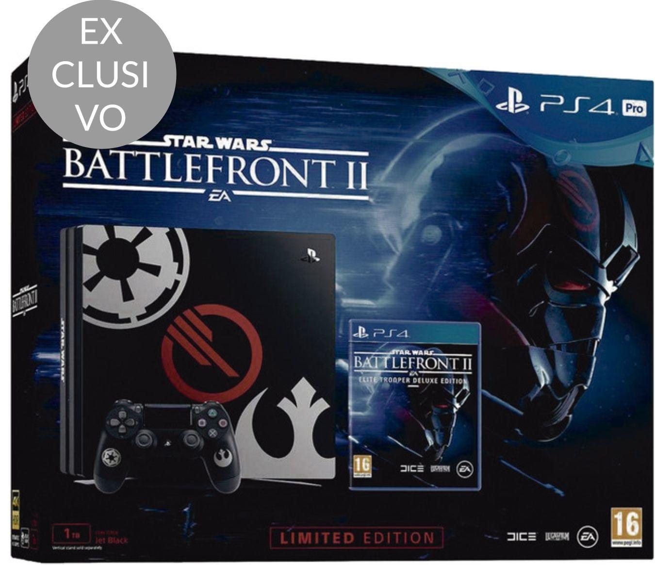 Consola PS4 Pro de 1 TB Edición Star Wars Battlefront II + Juego Star Wars Battlefront II Edición Deluxe