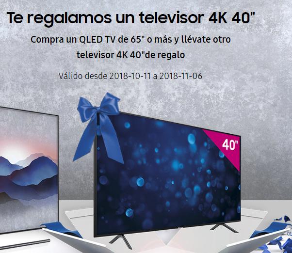 """Compra Televisor QLED TV 65"""" o más y Samsung te regala otro TV 40"""" 4K"""