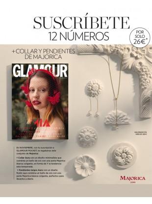 Suscripción anual a la revista Glamour pocket + conjunto Majorica