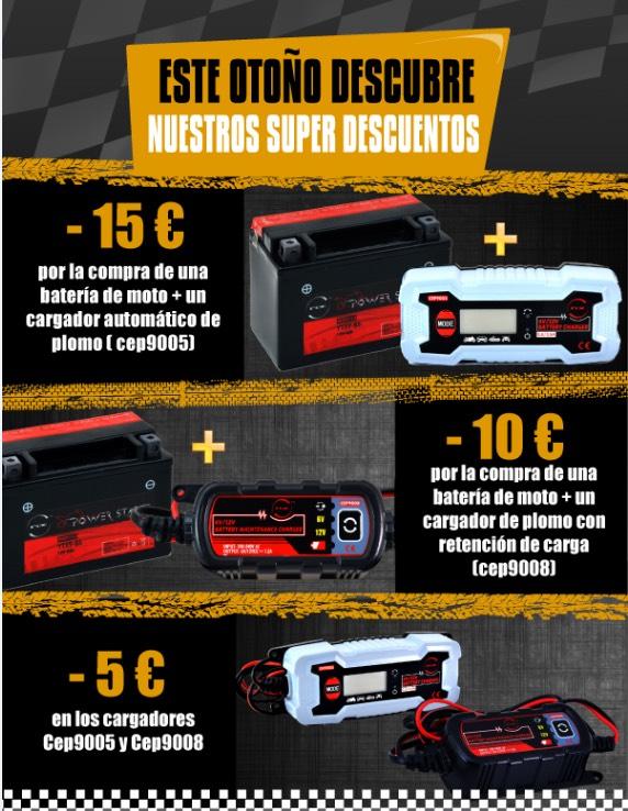 15€ de descuento comprando batería de moto + cargador