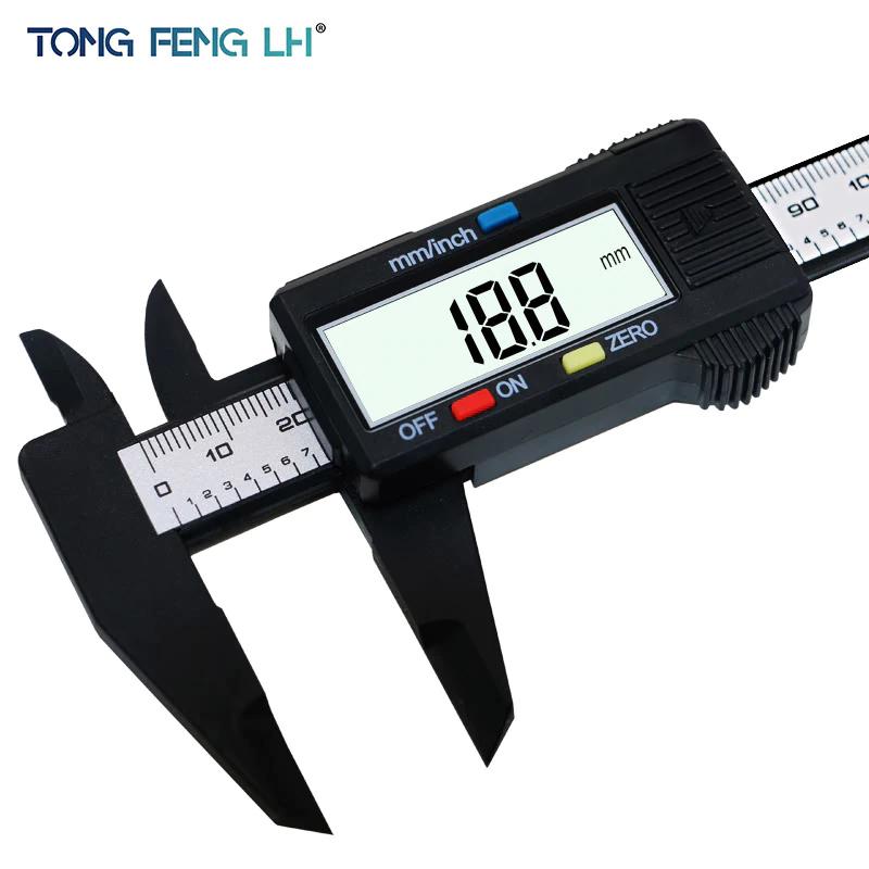 Calibre 150mm 6 pulgadas LCD Digital fibra de carbono calibrador Vernier micrómetro