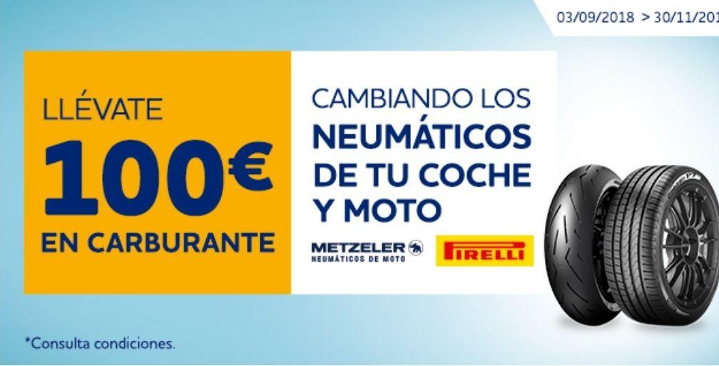 100€ en carburante cambiando los neumáticos de tu coche y moto