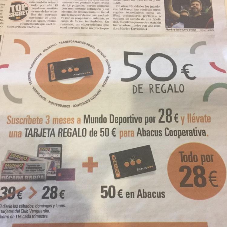 50 euros en tarjeta Abacus con suscripción mundodeportivo 3 meses