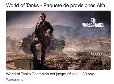 Twitch Prime World of Tanks PC: Paquete de provisiones Alfa