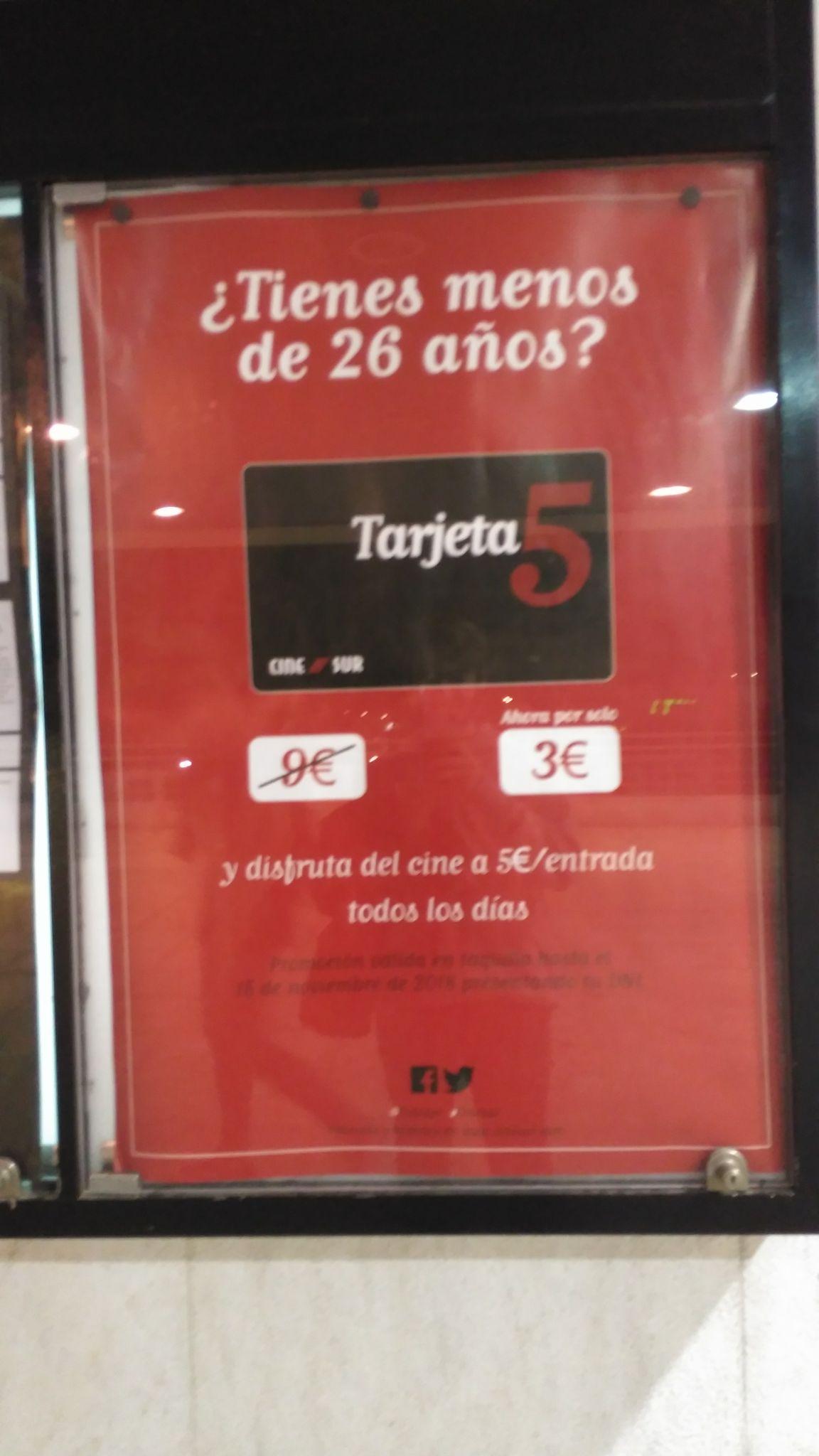 Tarjeta 5 Cinesur a 3€