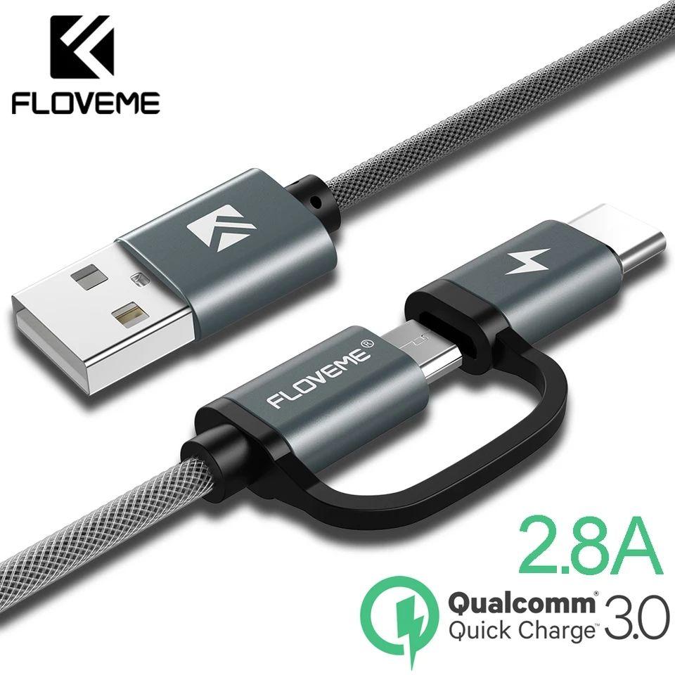 Cable carga rápida 2,8a dual, micro USB/tipo C (con cupón del vendedor, Desde China)
