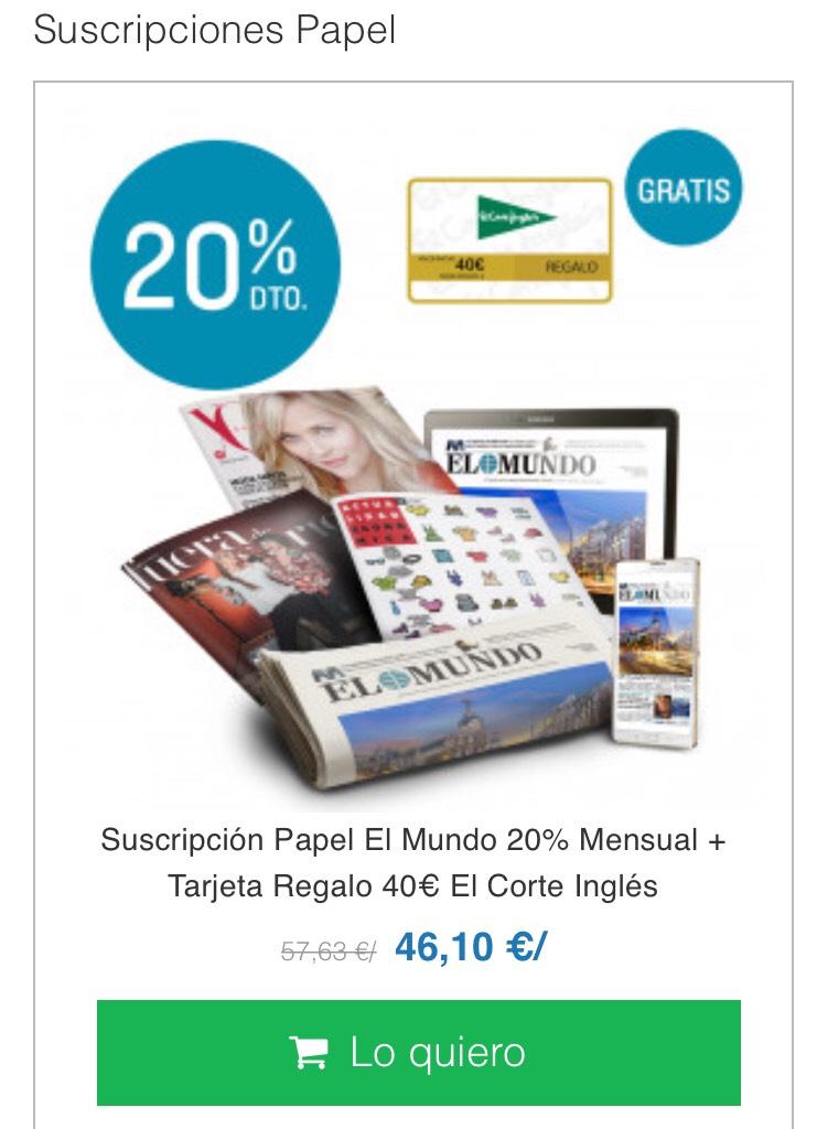 20% Suscripción Periódico + 40€ Regalo ECI