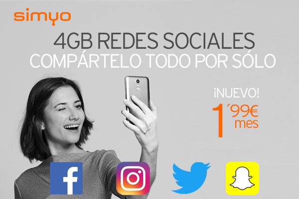 Nuevo bono de 4GB para redes sociales por 1,99€