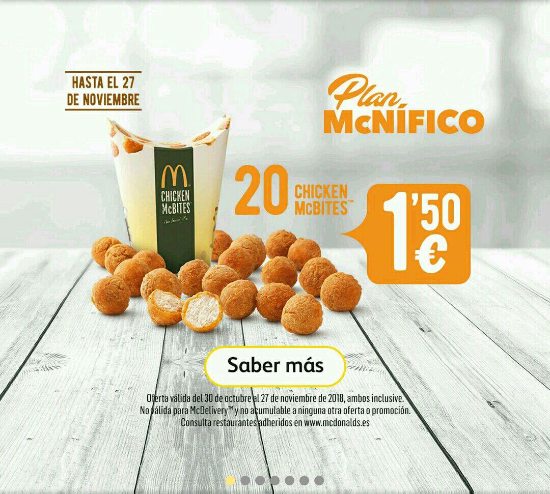 20 Chicken McBites por solo 1.50€