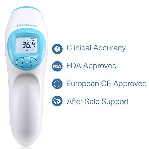 Termómetro Metene frontal, sin contacto, aprobado CE y FDA. Adecuado para bebés, niños, adultos y objetos, con lectura inmediata.