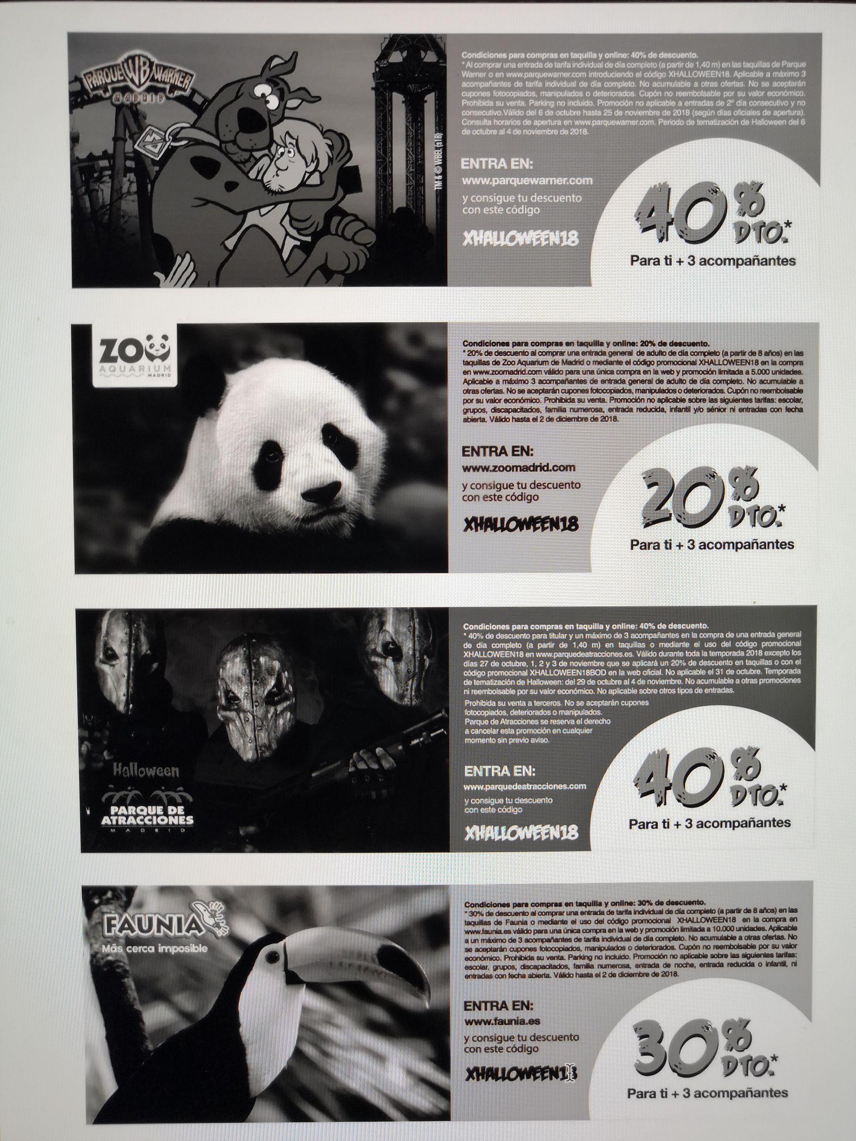 Descuentos Bonoparques (40% descuento warner, 20% Zoo, 40% Parque atracciones y 30% Faunia)
