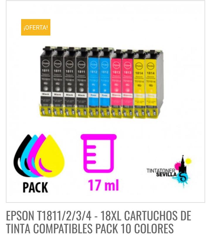 EPSON T1811/2/3/4 - 18XL CARTUCHOS DE TINTA COMPATIBLES PACK 10 COLORES