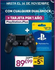 Suscripción de 12 Meses PlayStation Plus + MANDO DUALSHOCK PS4 + Cable USB