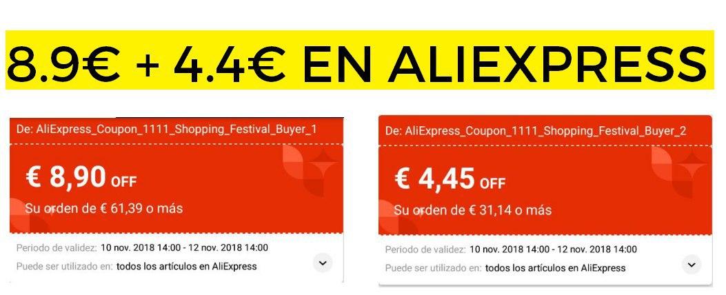 Cupónes de 8,9€ + 4.4€ para todo Aliexpress