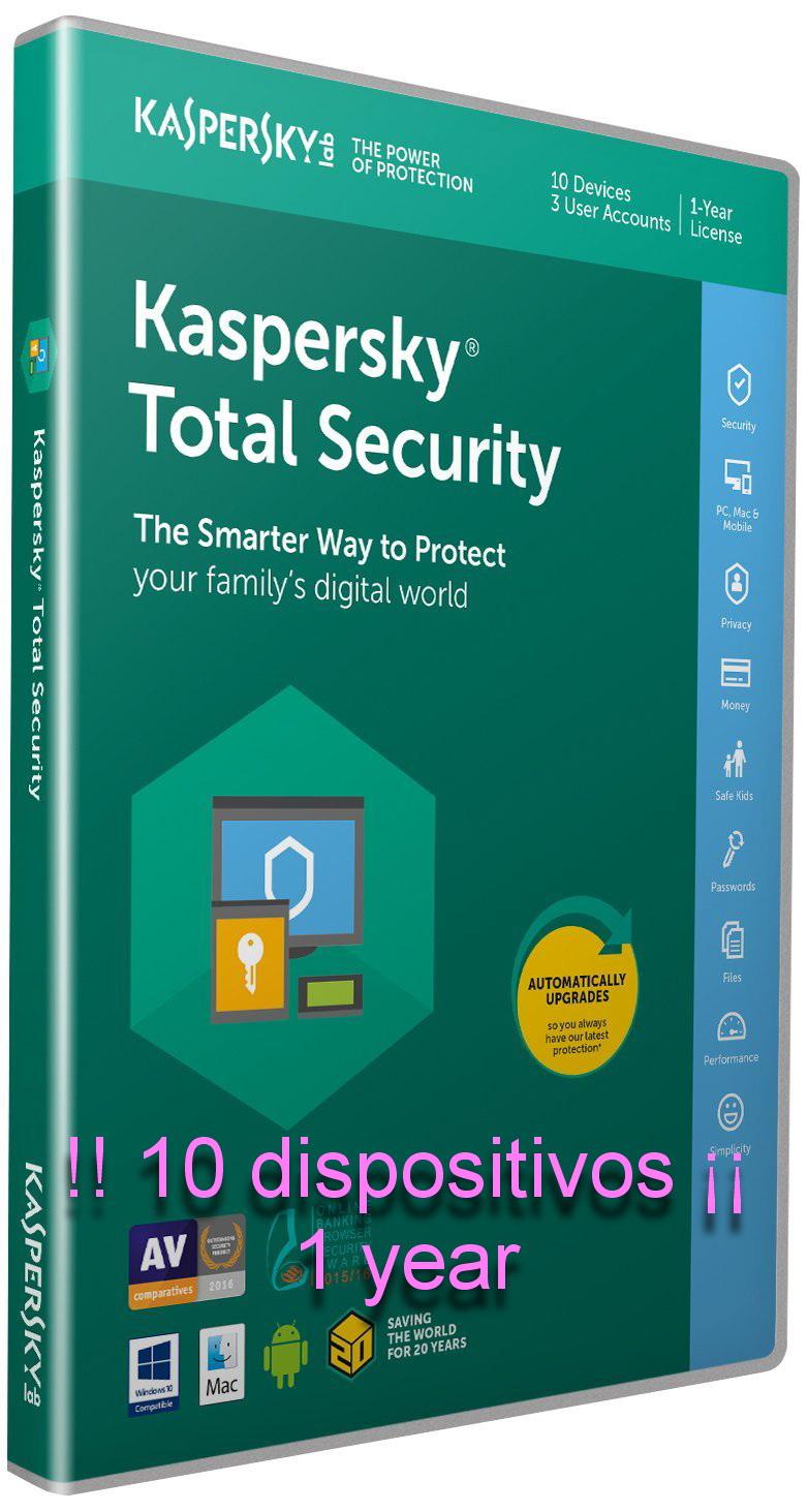 ¡¡ SUPER PRECIO 10 dispositivos¡¡  AL PRECIO DE UNO - Kaspersky Total Security 2019
