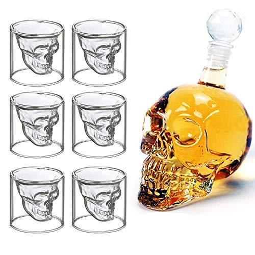 Botella en forma de craneo y 6 vasos