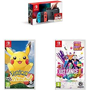 Nintendo Switch Con 2 Juegos Pokemon Mario Party Just Dance