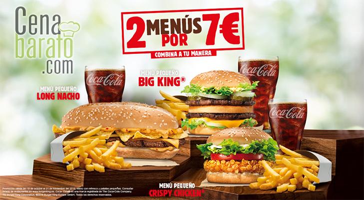 2 menús pequeños por 7€ en Burguer King