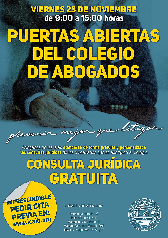 ISLAS BALEARES: Asesoramiento jurídico gratis el 23 de noviembre (Colegio de Abogados)
