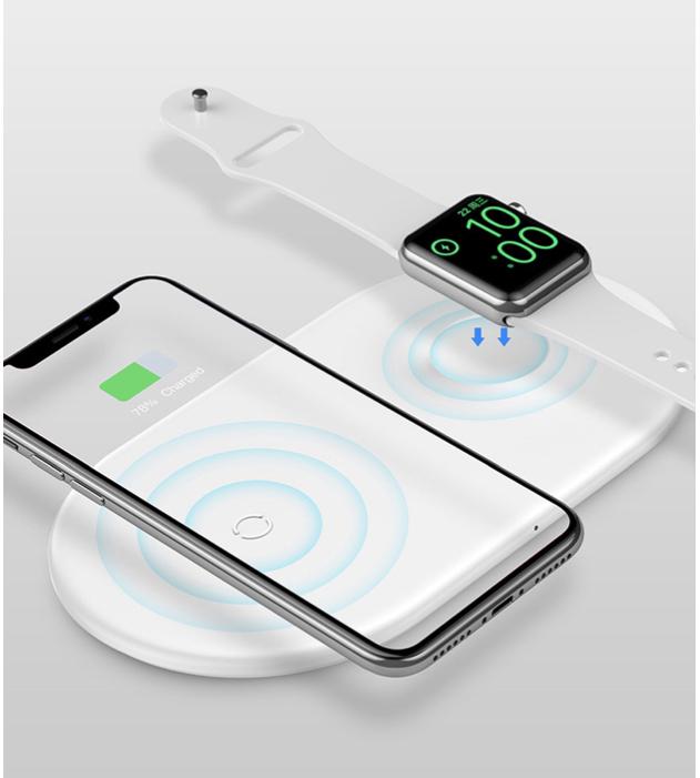 Cargador universal BASEUS universal 2 en 1 7.5W para IPHONE y reloj apple / IWATCH blanco